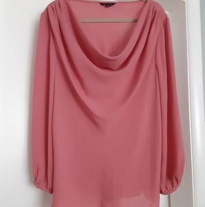 Coral drape neck blouse